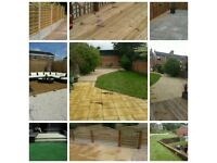 SLABBING / DECKING / TURFING ( real or artificial ) / FENCING / COMPLETE GARDEN RENOVATIONS & MORE .