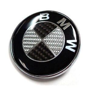 82mm BMW Black Carbon Fibre Boot Bonnet Badge Emblem Roundel - 1 3 5 6 7 X Z