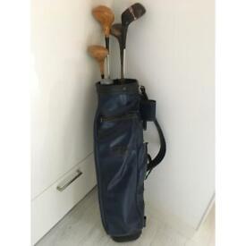 Vintage golf bag and vintage assorted clubs