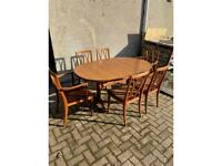 Beautiful G Plan Oval Dining Table and Set of 6 Crescents Chairs (2 Carvers)