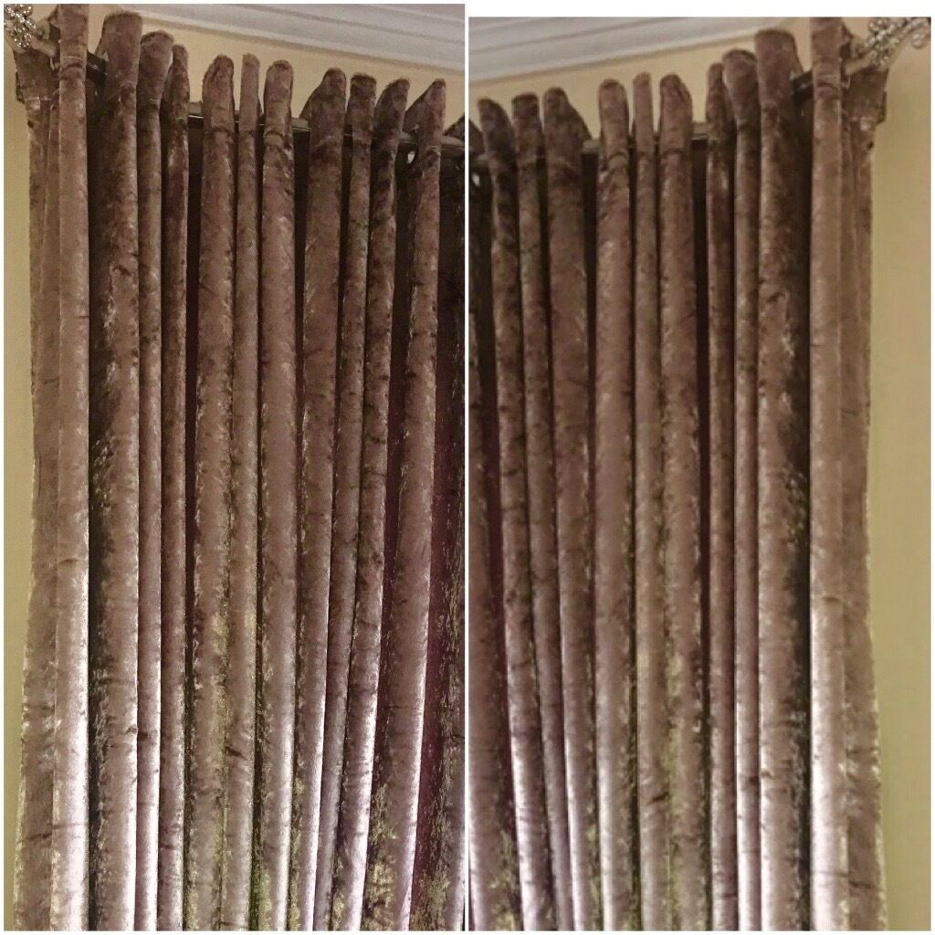 Crush velvet curtains silver Beige cream black eyelet ring ...