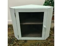 Vintage rustic kitchen/pantry dry store Corner Cupboard, with mesh door. In pale duck egg blue.