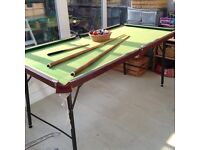 6ft X 3ft collapsible snooker / pool table - adjustable height