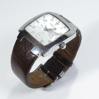 Kenneth Cole Reaction KC1363 Square Faced Analogue Watch w/ Leather Strap 50m WR
