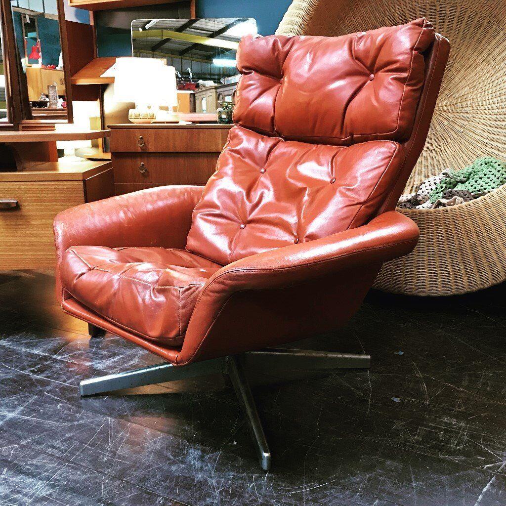 Red Leather Swivel Chair Retro Vintage Mid Century Danish Style