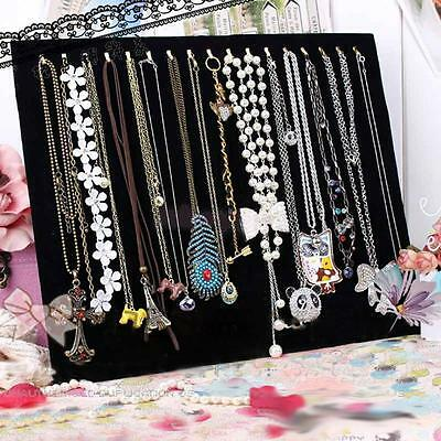 Blk Velvet Necklace Chain Bracelet Display Holder Stand Easel Organizer Rack