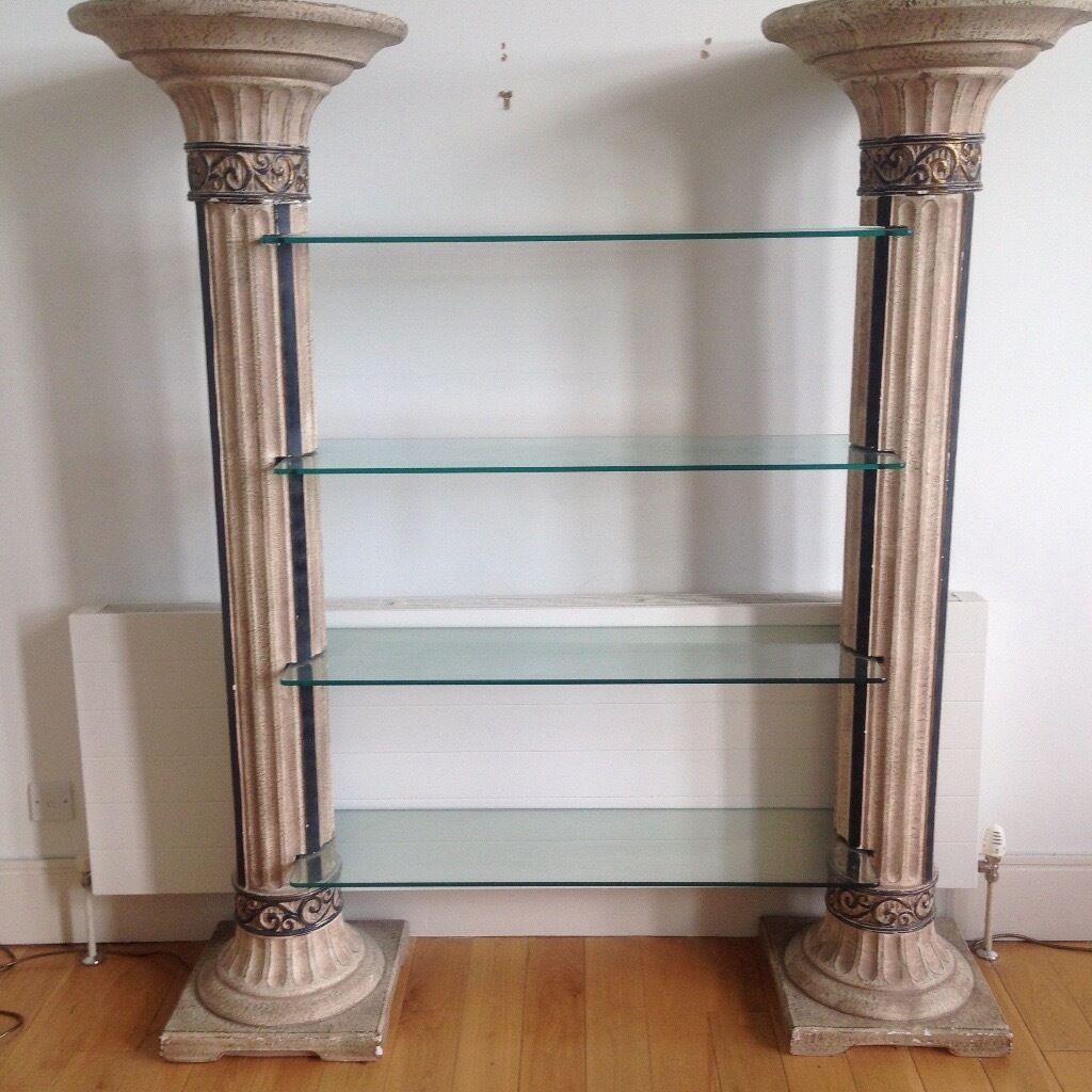 Roman Greek Style Columns Shelves Classic Part Of 3 Piece