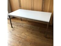 Dining Table White High Gloss with Steel Frame