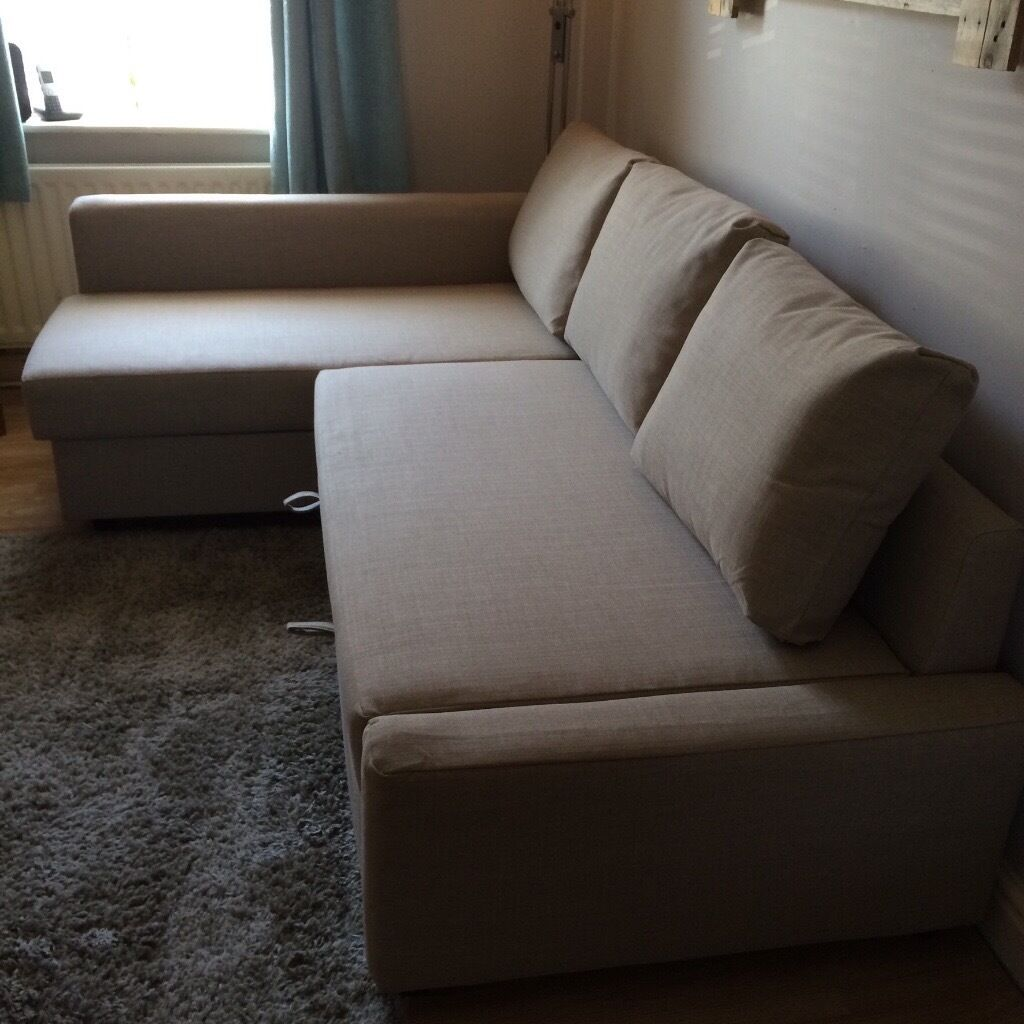 Ikea friheten chaise longue corner sofa bed in beige with storage space in whiston merseyside - Chaise longue sofa bed ...