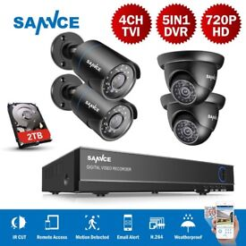 SANNCE 4CH 5IN1 DVR Camera Security System CCTV 1500TVL Outdoor IR Cut Night 2TB