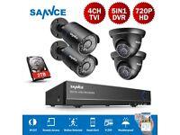 SANNCE 4CH 5IN1 DVR Camera Security System CCTV 1500TVL Outdoor IR Cut Night 2TB