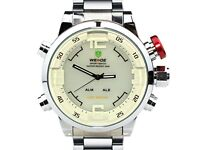 New Weide Mens White Dial Dual Time Display Wrist Watch