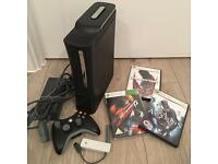 XBox 360 Elite, wifi adapter, 3 games