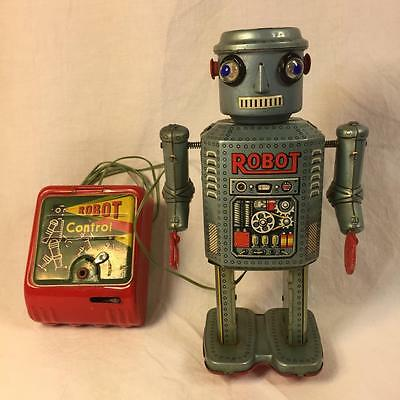 "original vtg 1950s R-35 Masudaya ROBOT 7.5"" Battery Operated Tin JAPAN Space Age"