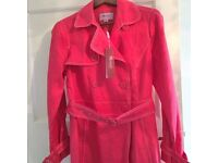 Monsoon petite size 12 red linen coat brand new. rrp £65