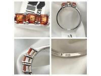 Woman Ring Size S sunset sapphire ring AAA Grade Asscher Cut Trilogy NEW