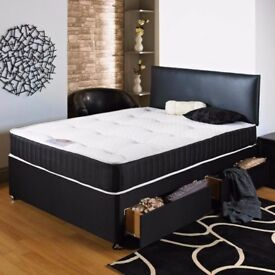 DOUBLE / SMALL DOUBLE DIVAN BED SET WITH MATTRESS + HEADBOARD SIZE 3FT 4FT6 Double 5FT King