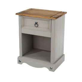 Grey and pine 1 drawer bedside