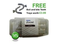 Philips Zoom 14% Teeth Whitening Gel .. Inc FREE Boil & Bite Teeth Trays & Free 1st Class Delivery.