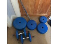 Wider weight set with long bar and hand weights