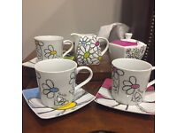 BN milk jug, sugar bowl and 3 cups and saucers