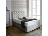 *DELIVERY IS FREE* BRAND NEW CRUSHED VELVET DIVAN BED BASE + 9 INCH DEEP QUILT MATTRESS 3FT 4FT6 5FT