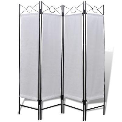 "5' 3"" x 5' 11"" Folding 4-Panel Room Divider Privacy Screen White Home Dorm"