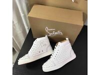 Christian Louboutin Louis Calf White Spiked High Tops All Sizes