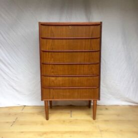 Danish mid century vintage teak chest of drawers 1960s 1970s