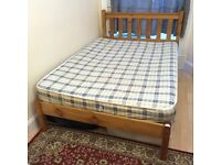 Small Double Wooden Scandinavian Pine Bed Frame (with/without mattress)