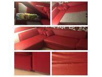 Large red corner sofa bed