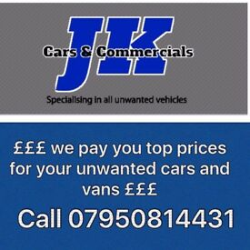 SCRAP MY CAR - SCRAP MY VAN -WE BUY UNWANTED VANS & CARS - POOLE- DORSET- MOT FAILURES- CASH PAID