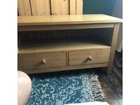 Hardwood Pine TV stand with two drawers