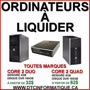LIQUIDATION ORDINATEURS CORE 2 DUO ET CORE 2 QUAD 4GB 160GB
