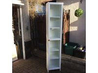 2 meter tall white glass cabinet, £25