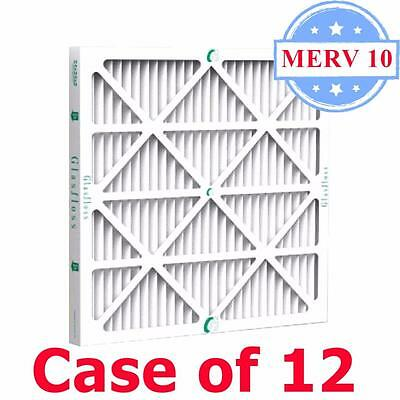 20x25x1 Air Filter MERV 10 Pleated by Glasfloss - Box of 12 - AC/Furnace Filters ()