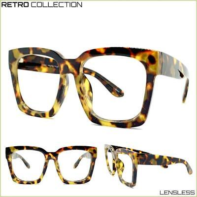 New Oversized Exaggerated Square Leopard Lensless Eye Glasses Frame Only NO (Leopard Frame Glasses)