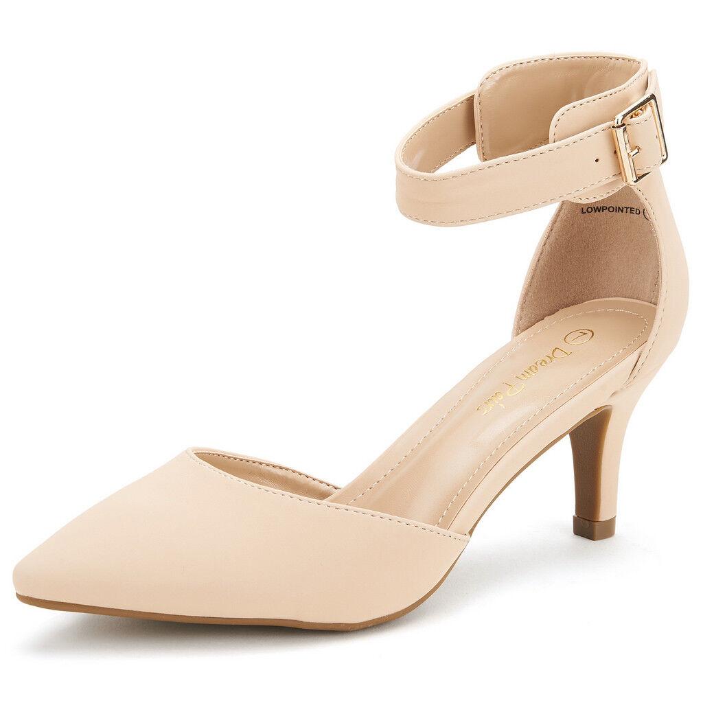DREAM PAIRS Women's Evening Dress Low Heel Ankle  Wedding Pumps Shoes