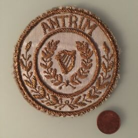 Masonic or military (?) goldthread embroidered 'Antrim' badge with harp