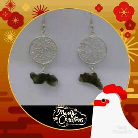 Nature Moldavite with 925 silver earrings