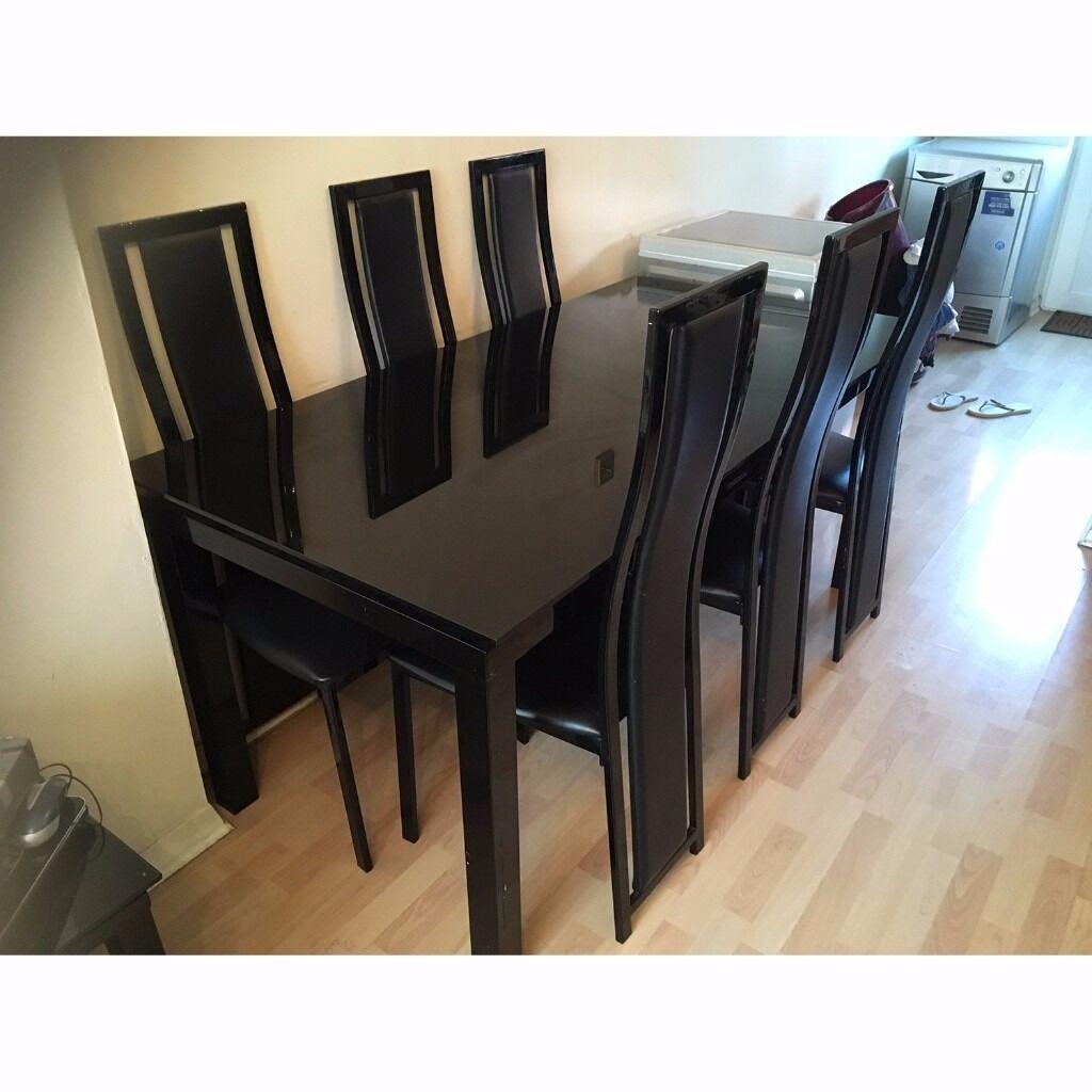 Harveys Noir Elegant Black Glass Extendable Dining Table and Set