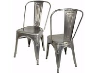 Hartleys Industrial Design Cafe/Bistro Chairs Set of 2 - Silver.............Brand New