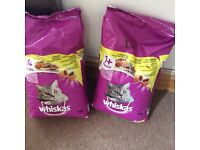 Two huge 7 kilo whiskers chicken biscuits bags for sale