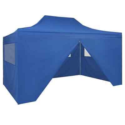vidaXL Foldable Tent Pop-Up with 4 Side Walls 3x4.5m Blue Garden Gazebo Canopy