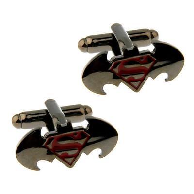 SUPERMAN VS BATMAN CUFFLINKS Comic Book Logo Super Hero Gunmetal NEW w GIFT BAG