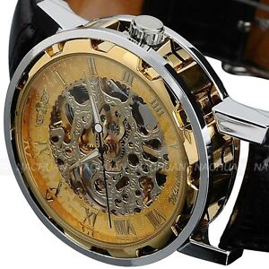 Classic-Mens-Black-Leather-Gold-Dial-Skeleton-Mechanical-Sport-Army-Wrist-Watch