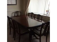 Mahogany dining table, chairs and dresser