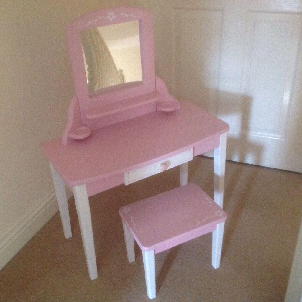 John crane pink wooden girls dressing table and stool