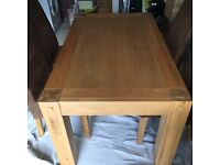 Modern Pine table and 4 high back suede effect chairs