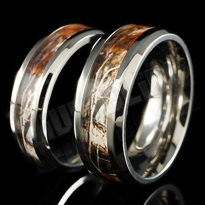 Titanium RealTree Forest Wood Oak Camo Men Womens Band Ring Comfort Fit 6MM 8MM](Camo Ring)